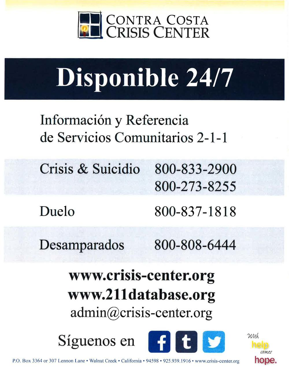 Crisis Center Spanish Logo
