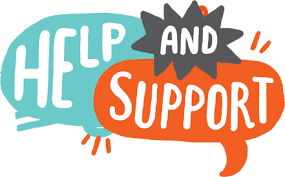 image of speech bubbles saying  Help and Support.