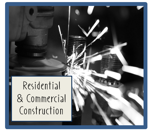 Logo for Residential   Commercial Construction  machinery in the background