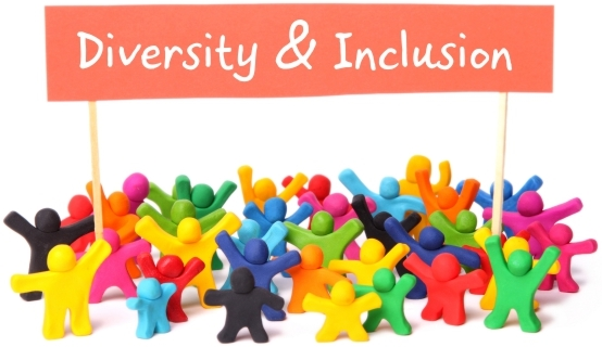 Image, many different colored clay people holding a sign,  Diversity   Inclusion.