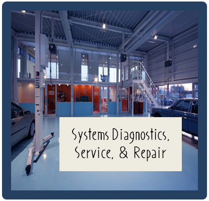 Photo of an autoshop with words,  Systems Diagnostics, Service, and Repair.