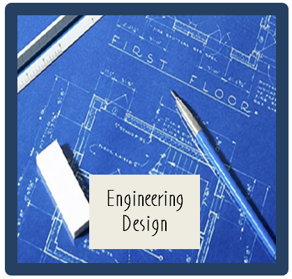 Image of blueprint, pencil, eraser, and ruler with words  Engineering Design.