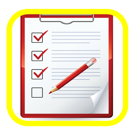 sign up button, clipboard with red pencil image