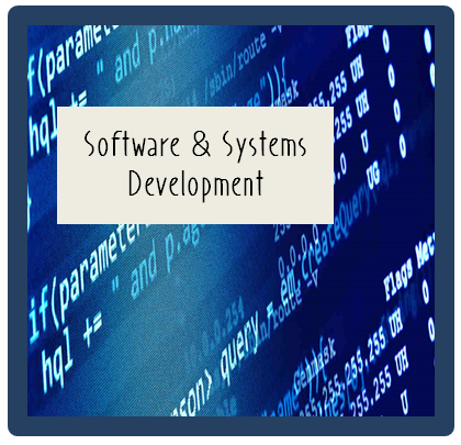 Image of computer code with words,  Software and Systems Development