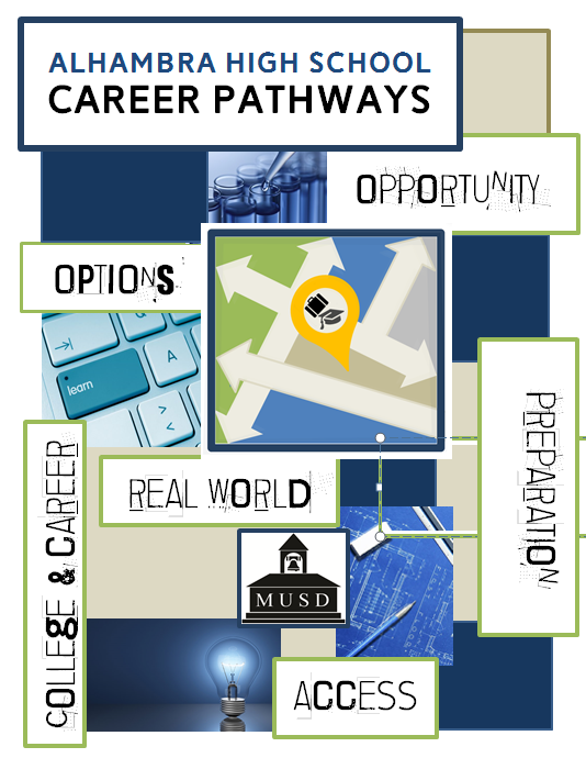 Image of cover a booklet   Alhambra High school Career pathways   Options, Opportunity, College   Career, Real World, Access, preparation
